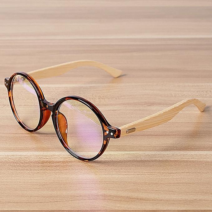 fa85d79114 Fashion Retro Round Glasses Bamboo Eyewear Frames for Men Women ...