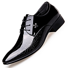 Autumn Mens Dress Pointed Toe Flowers Patent Leather Wedding Party Oxfords Shoes Lace Up Red Blue Green Male Fashion Oxfords Men's Shoes Shoes