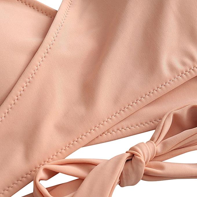 5596436b54 ZAFUL High Cut Halter Wrap Bikini Set,Deep Peach @ Best Price Online ...