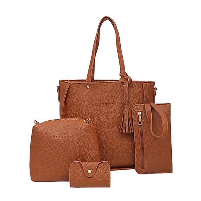 6d8cf2d5ae singedanFour Set Handbag Shoulder Bags Four Pieces Tote Bag Crossbody  Wallet Bags BW -Brown -