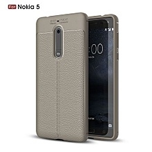 Nokia 5 Silicone Case, Litchi Pattern TPU Anti-knock Phone Back Cover For Nokia 5 - Gray.