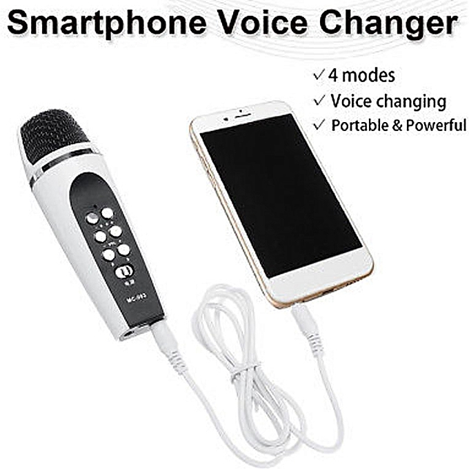 4 Mode Voice Changer Microphone For Iphone Apple Smartphone Cellphone PC  white