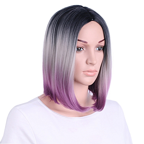 Generic douajso Purple Hair Lace Front Wig Long Straight Synthetic Wigs For  Women Heat Friendly   Best Price  9011031bc4
