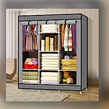 Wood frame Portable Wardrobe - 3 Columns - 130*170*45cm - Grey