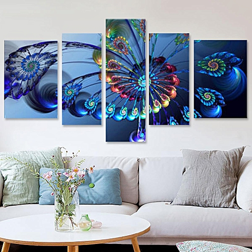 5pcs Frame Modern Blue Pea Canvas Print Art Painting Wall Picture Home Decor