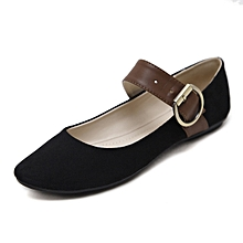 Refined Large Size Women's Basic Flats Shoes Buckle Ballet Shoes Round Head Single Shoes-black