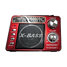 Rechargeable 3 Band World Radio With MP3 Radio TF Card Torch - Red