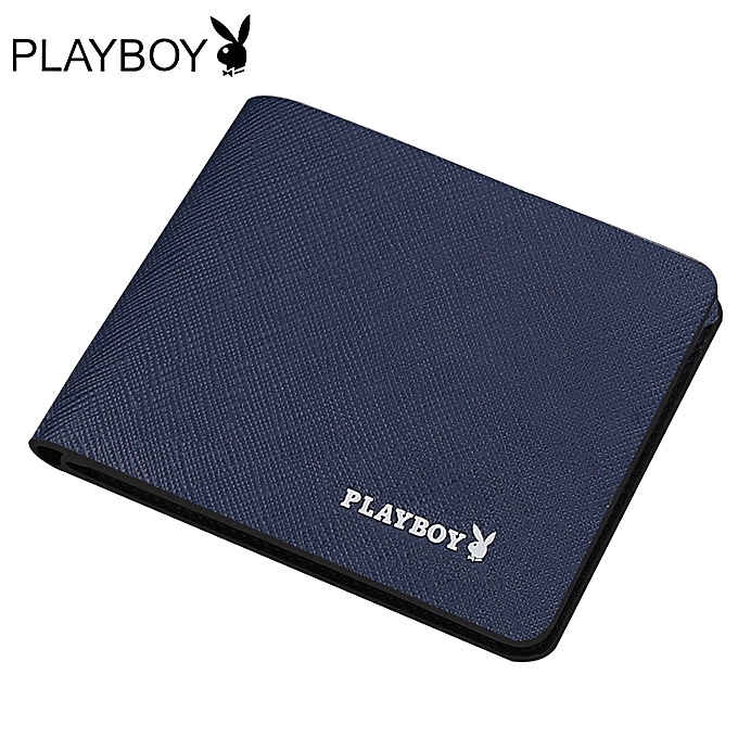 ?blue?Playboy wallet men's short youth student wallet men's leather wallet ultra-thin ?