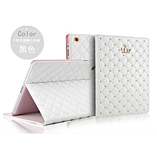 For Apple Ipad Air 2 Diamond Crown Grid PU Leather Smart Cover Case For Ipad 6 Ipad Air 2 Case Auto Wake Stand Leather Case Mll-S