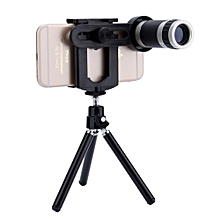 Universal 8x Zoom Telescope Camera Lens + Mobile Phone Mount Tripod Stand Holder For Smartphone