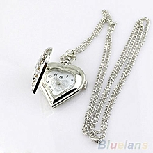 Women Vintage Hollow Heart-Shaped Pendant Long Chain Necklace Cute Pocket Watch
