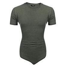 Men V Neck Short Sleeve Bodybuilding Muscle Training Solid Basic T-Shirt