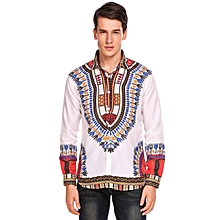 Men Casual Tribal Printing Long Sleeve Button Down Shirts