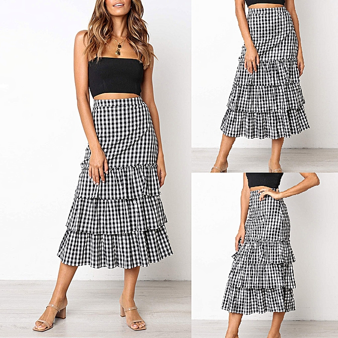 006ab14b8d jiahsyc store Women Plaid Printing Party Chiffion High Waist Lace-up Hip  Long Skirt
