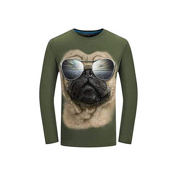 43a211441c1b PODOM Men s Fashion Casual Fun 3D Sharpei Dog Sunglasses Animal Printing  Plus Size Long Sleeve T