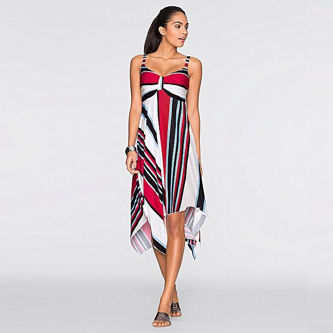 a2f4c659 Women Beach Dress Geometric Stripe Print V Sleeveless Asymmetric Hem Swing  Boho Casual One-Piece