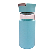 Glass Water Bottle - 370ml - Light Blue