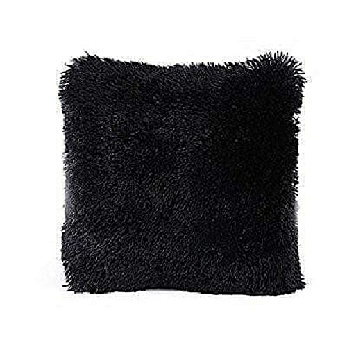 Fluffy Pillow Cover / Throw Pillow Cover / Sofa Pillow Cover / Seat Pillow Cover  18'' x 18'' - Black.