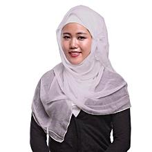 Muslim Hijab Silk-feel Shawl Scarf Creamy White