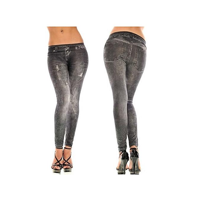 5109587e00 Hot SaleFashion New Autumn Women Fashion Blue Black Denim Like Faux Jean  Leggings Pants
