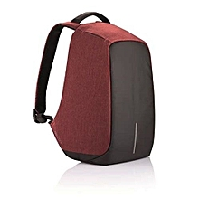 Anti-theft USB Charging Port Business Backpack - Black And Maroon