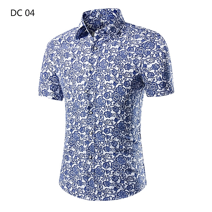 b310e6d17e8 2018 Fashion Mens Short Sleeve Hawaiian Shirt Summer Casual Floral Shirts  For Men Asian Size M