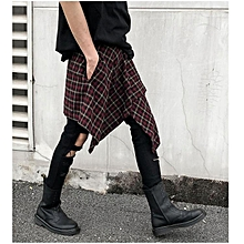 Men's Fashion Stylist Irregular Plaid Printed Calf-Length Culottes Leisure Scottish Culottes Shorts
