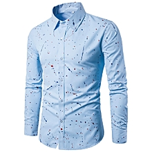 jiuhap store Mens Casual Long Sleeve Shirt Business Slim Fit Shirt Printed Blouse-Blue