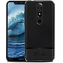 Nokia 5.1 Plus / Nokia X5 Case Litchi Pattern Leather Rugged Shockproof Soft TPU Protective Cover Case