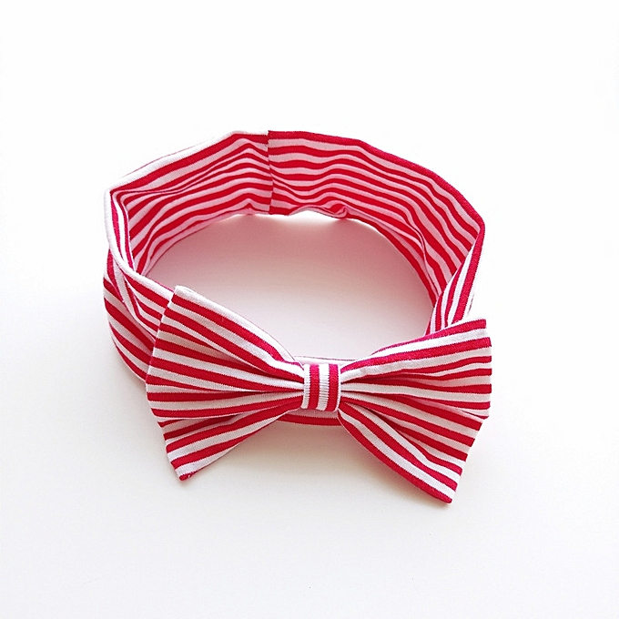 Refined Fine cotton red and white striped hair band Girl baby cute elastic hair  band baby 97e52f2bece