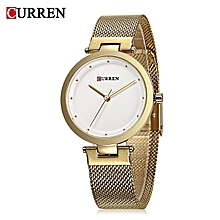 9005 Gold Quartz Women's Watch With Ultra-thin Dial And Metallic Strap