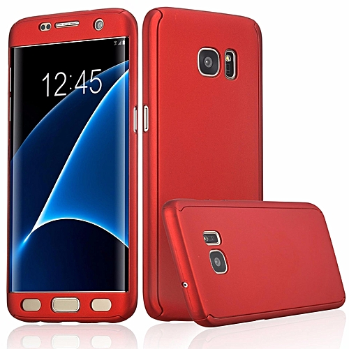 360 Degree All-around Full Body Slim Fit Lightweight Hard Protective Skin Case Cover without Screen Protector for Samsung Galaxy S7 Edge (Red)   XXZ-Z