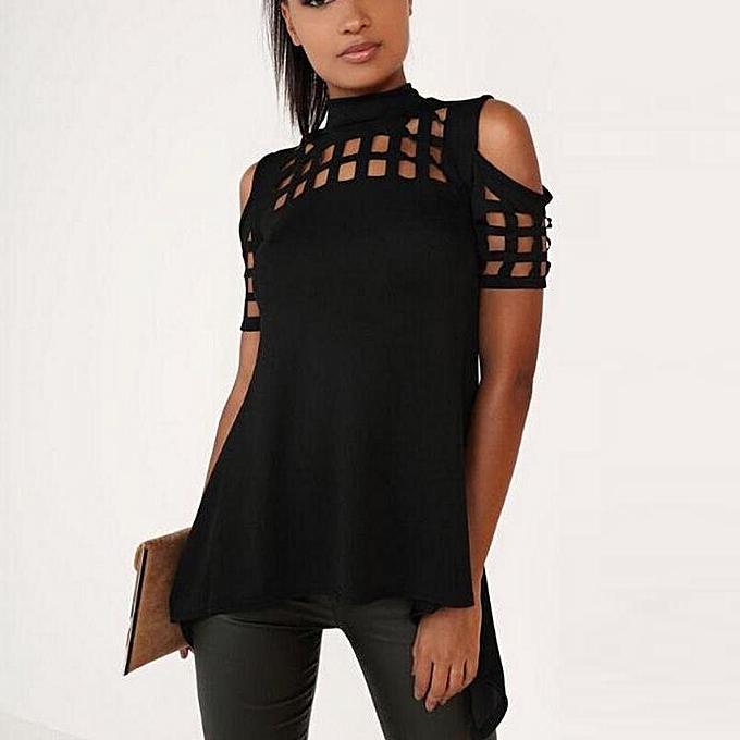 a72de22683dd Fashion Celmia 2017 Women Short Sleeve Blouse Shirt Sexy Turtleneck Hollow  Out Back Split Tops Casual Irregular Hem Blusas Plus Size Black