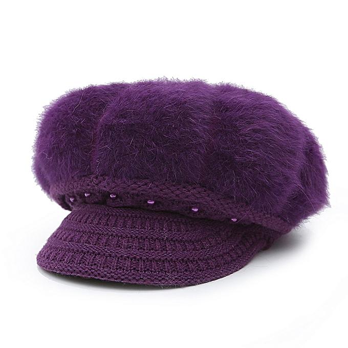 Fashion Autumn Winter Women Girl Rabbit Hair Solid Color Peaked Cap Hat  Berets-Dark Purple 13958f0b2cd