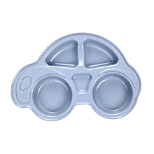 Home-Nordic Style Wheat Straw Car Children Sub-Grid Plate Cute Bowl Tableware blue
