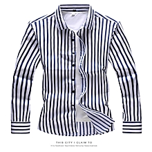 Stripe Mens Shirts  Long Sleeve Shirts (Blue)