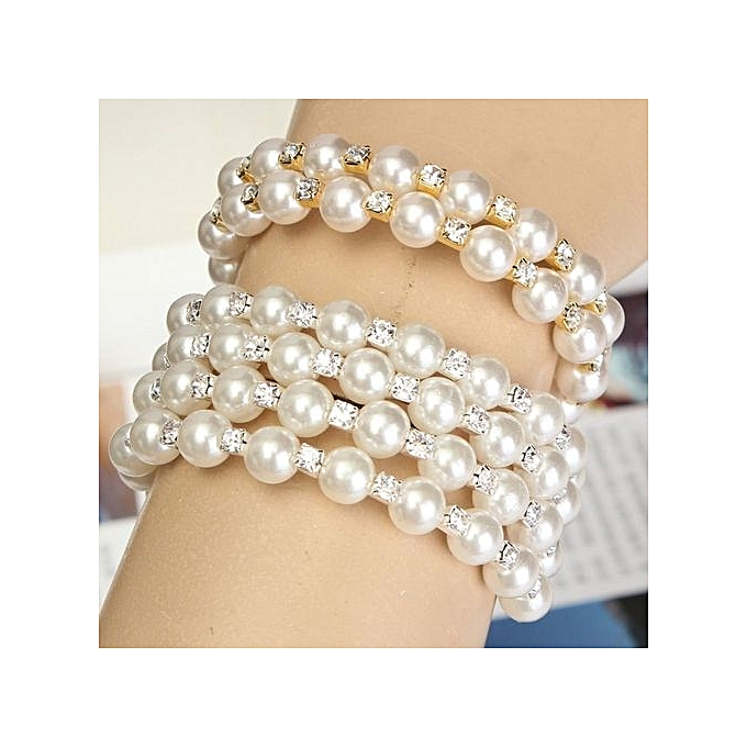 buy fashion fashion new style pearl rhinestone cuff bangle wedding