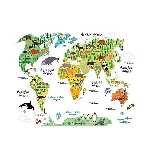 Buy allwin colorful animal world map wall sticker home decal mural colorful animal world map wall sticker home decal mural art diy gumiabroncs Image collections