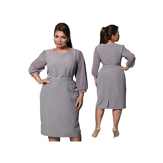 Buy Fashion Plus Size Work Dress 2017 Summer Peplum Ruched Office
