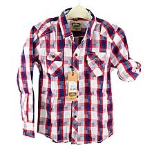 Red, Blue, and White Plaid Checkered Pilot Shirt for Boys