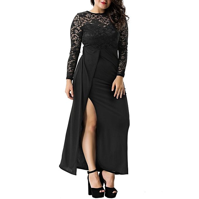07d01dfcc92 Fashion Women Plus Size Sexy Black Lace Trim Party Gown   Best Price ...