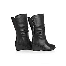 bluerdream-Women Autumn Winter Warm Shoes Ladies Wedges High Heel Ankle Boots Zipper Boots- Black 35