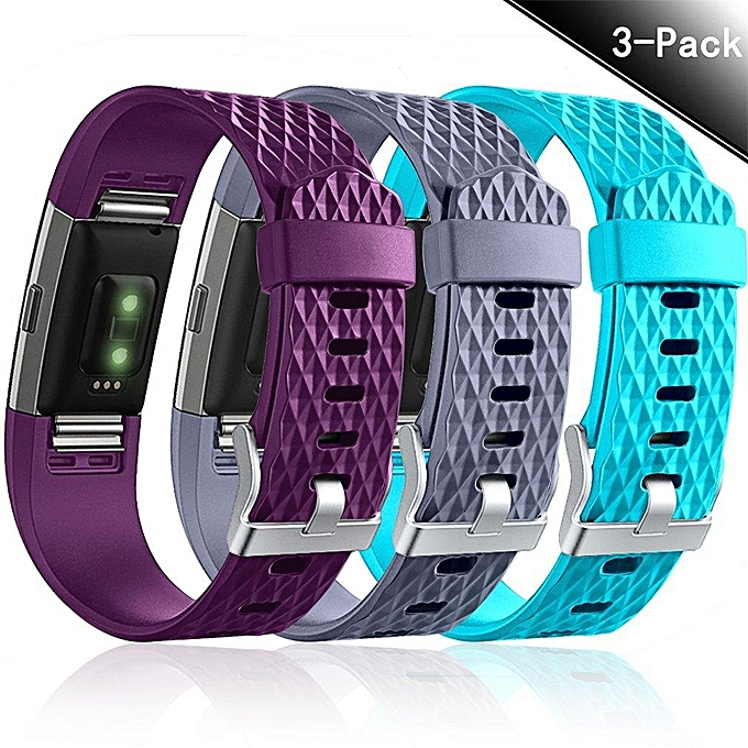 3 Pack Fitbit Charge 2 Bands, Classic Special Edition Sports Replacement  Strap for Fitbit Charge2 Fitness, Large Small (Multicolor