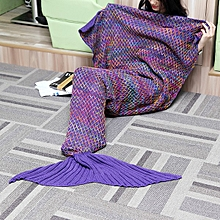 185x90cm Yarn Knitted Mermaid Tail Blanket Multicolor Handmade Crochet Throw Super Soft Sofa Bed Mat