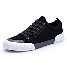 Men's Casual Denim Canvas Shoes Breathable Sneakers (Black)