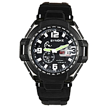Hiamok_SYNOKE Men Waterproof Double Digital Quartz LED Sports Watch Black