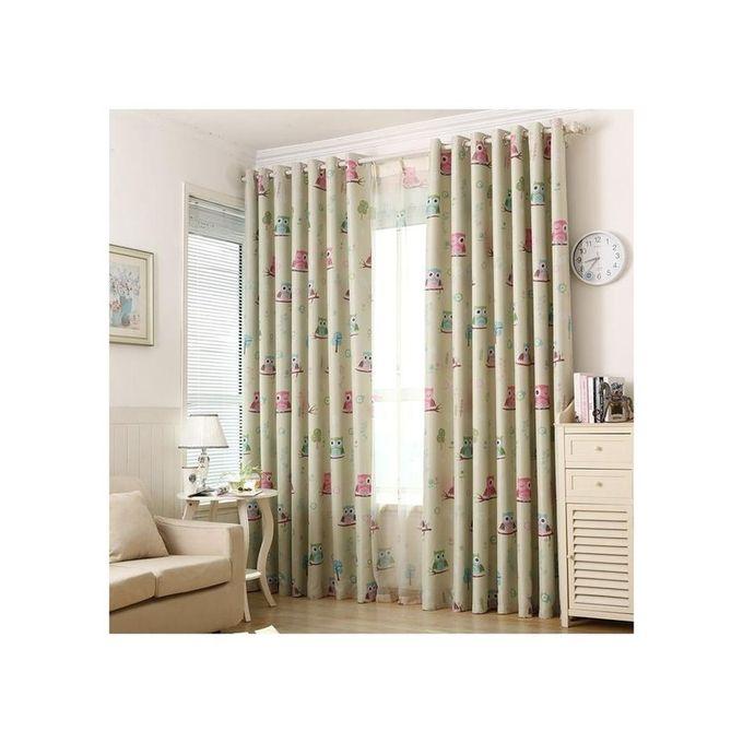 Magideal 2Pcs 100x250cm Owl Pattern Voile Curtain Drapes Living
