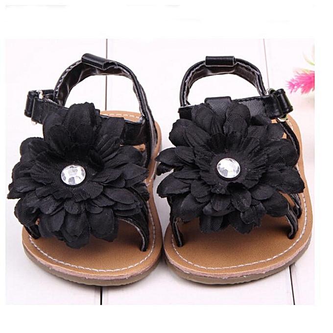 e59e7f91e624f Summer New Infant Toddler Baby Girls Flower Sandals PU Shoes Prewalker  0-18M BLACK-