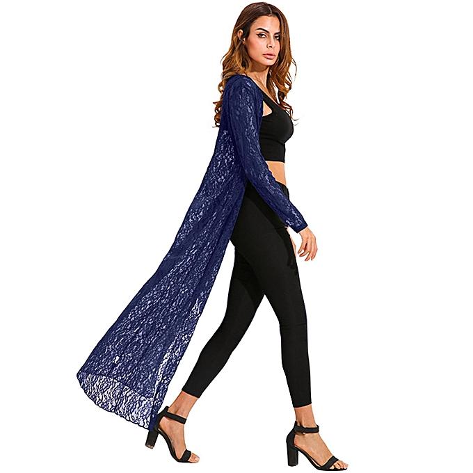 e9a1afb1a09 ZANZEA ZANZEA Autumn Women Outerwear Lace Crochet Kimono Cardigan Blusas Long  Sleeve Casual Loose Long Tops Blouses Shirts Plus Size Navy