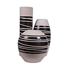 Ceramic Vase Set - White & Black Centre